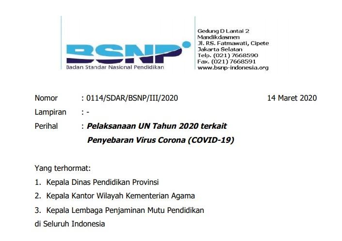 Surat Edaran BSNP : Pelaksanaan UN Tahun 2020 terkait Penyebaran Virus Corona (Covid-19)